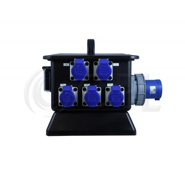 63 Single Power Rubber Box Distro - Outputs 2 x 32/1 6 x 16a)