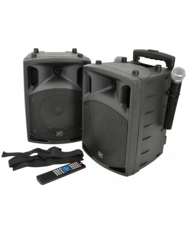 Qtx PAV8 portable PA set + 2 UHF mics, CD/DVD, USB/SD & Bluetooth