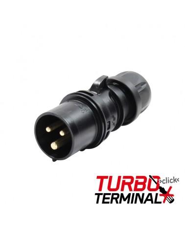 16A 230V 2P+E Black Plug (013-6TTx)