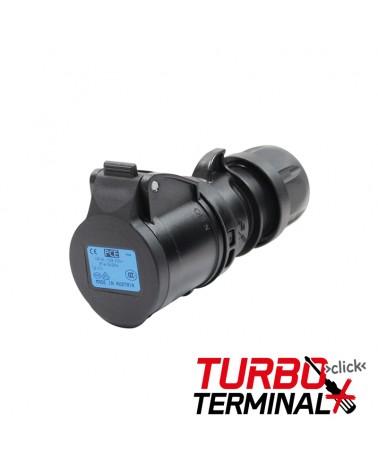 16A 230V 2P+E Black Socket (213-6TTx)