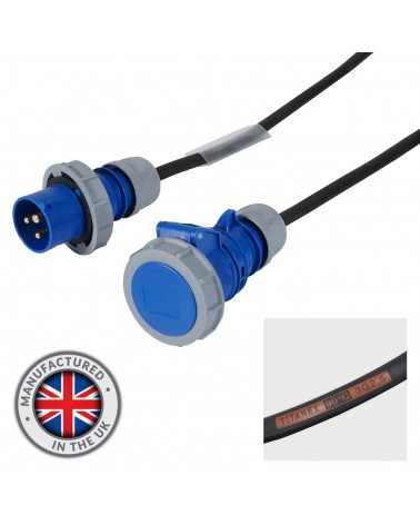 10m 2.5mm IP67 Blue 16A Male - 16A Female Cable