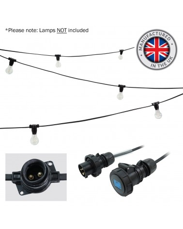 10m BC Heavy Duty Rubber Festoon, 0.33m Spacing with 16A Plug and Socket