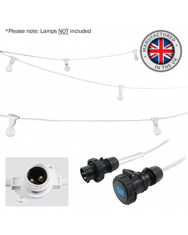 10m BC Heavy Duty White Rubber Festoon, 0.33m Spacing with 16A Plug and Socket